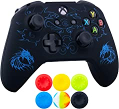 9CDeer 1 x Silicone Laser Carving Protective Cover Skin + 6 Thumb Grips for Xbox One S/X Controller Dragon Blue