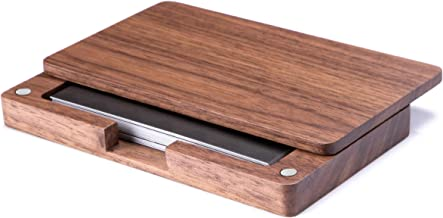 MaxGear Business Card Holder Business Card Case Wood Card Holder with Magnetic Closure for Women Men Walnut
