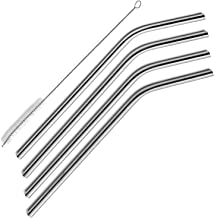 Noosa Life | Stainless Steel Straws | Set of 4 Reusable Straws | Extra Long with Included Cleaning Brush | Premium Quality from an Australian Company | Fits Tumbler, Yeti and Many Other Mugs with No Aftertaste