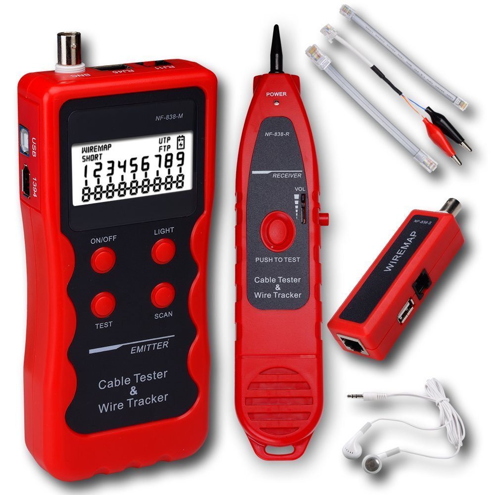 mearsoo Red LAN Teléfono Cable Tester Alambre Tracker coaxial USB 1394 BNC RJ45 RJ11 USB type838: Amazon.es: Bricolaje y herramientas