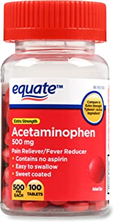 Equate Extra Strength Acetaminophen 500mg Sweet Coated 100 Tablets