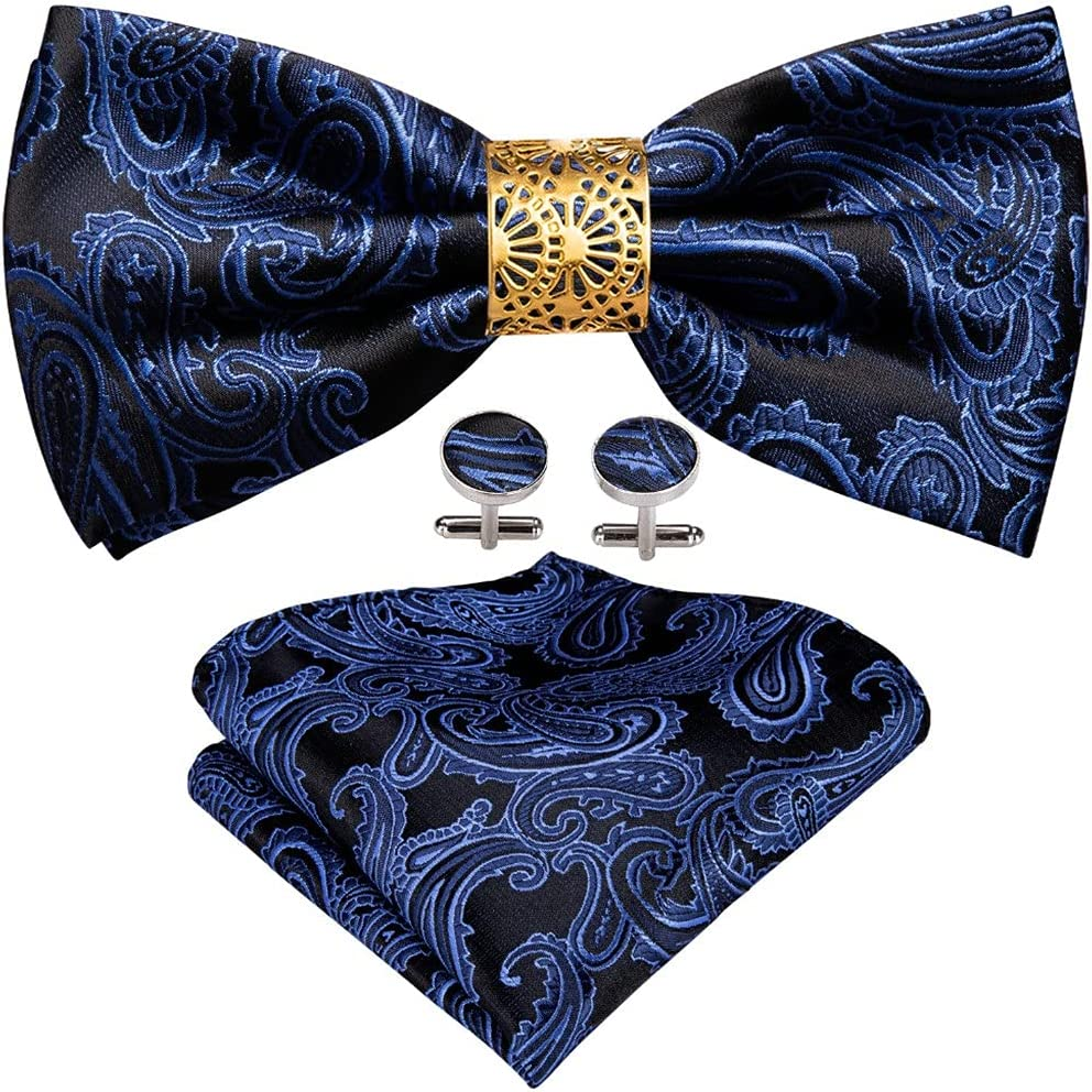 LQGSYT Blue Silk Pre-Bow Tie for Men Wedding Accessorie Adjustable Butterfly Handky Removable Gold Ring Set (Color : Blue, Size : One Size)