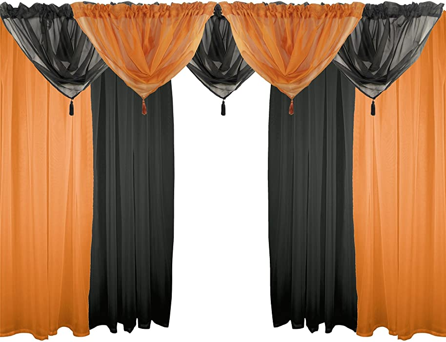 "ORANGE & BLACK 9 PIECE VOILE SET 48"" 122CM ROD POCKET CURTAINS DRAPES & SWAGS"