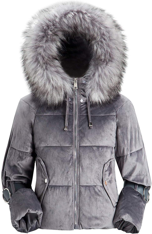 Ladies Ultra-Light Puffer Jacket Women's Down Ski Jacket with Faux Fur Trim Hood