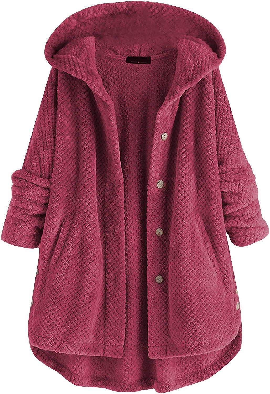 Oversized Women Knitted Button Down Hoodie Coats Baggy Irregular Hem Long Sleeves Knitwear Warm Hooded Overcoat Jacket
