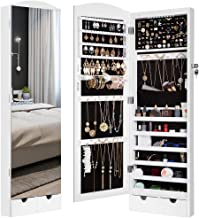 LANGRIA 10 LEDs Wall/Door Mounted Jewelry Armoire with Full Length Mirror, Lockable Jewelry Cabinet Organizer with 2 Drawers(White)
