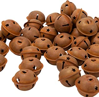 LUTER 44Pcs 40mm/1.57inch Rusty Jingle Bells Vintage Metal Bells with Star-Shape Cutouts for Christmas Holiday Home DIY Crafts Decoration