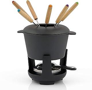 BBQ-Toro Service à fondue en fonte pour 6 personnes (noir/déjà brûlé) | 1 litre | Service à fondue | 13 pièces avec brûleu...
