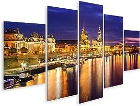 Leinwandbild 3 Tlg Skyline Dresden Hafen Stadt schwarz Leinwand Bilder 9P976