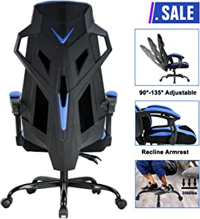 PC Gaming Chair Ergonomic Office Chair Desk Chair Executive Swivel Rolling Adjustable Computer Chair with Lumbar Support Headrest Arms High Back Racing Chair for Back Pain, Blue