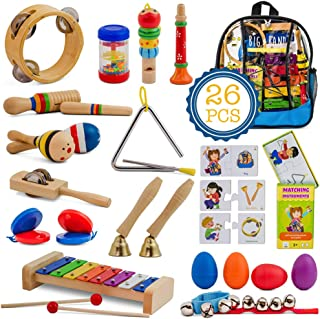 SMART WALLABY 26 pc. Musical Instruments Set for Toddlers + Bonus Puzzle Matching Game | Educational Percussion Kit with Xylophone, Blue Storage Bag & More. Big Band