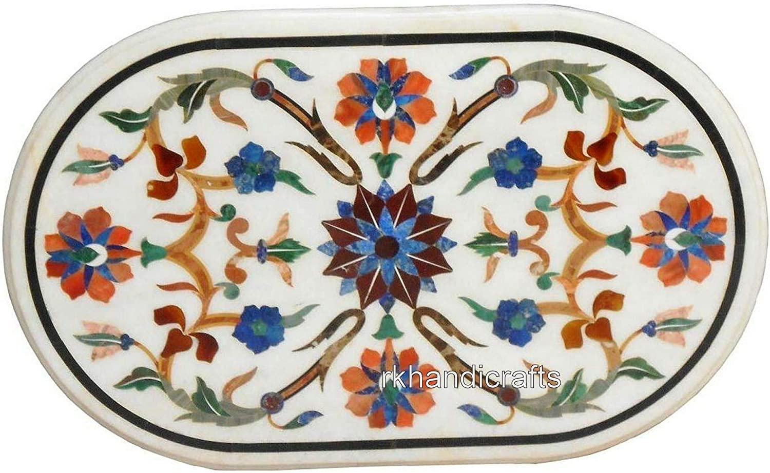 Raleigh Mall Oval Shape White Marble Coffee Table Pietra Outlet SALE Art Center Dura Top