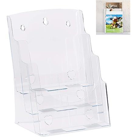 1 Pz Porta Opuscoli HxLxP 27x24x10 cm Relaxdays Depliant da Appendere e Appoggiare Acrilico Trasparente Formato A4