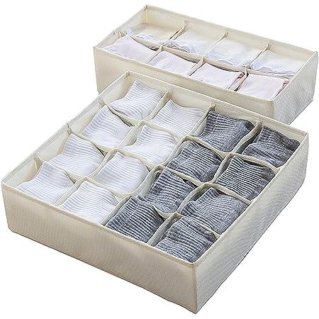 AsiaP 下着収納 靴下収納 衣類用 引き出し仕切り 収納ボックス [高品質 オックスフォード布] (2枚組 24マス)