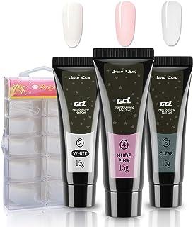 Kit Uñas De Gel Jane Choi 3 Colores UñAs Gel Para Uñas Uv Bulider Gel (Blanco Rosa Desnudo Transparente)+100 Uñas Posti...