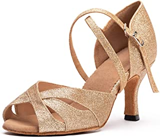 Strap Latin Salsa Dance Shoes Mid Heel Performance Wedding Shoes Skid Resistance Shoes,2.3