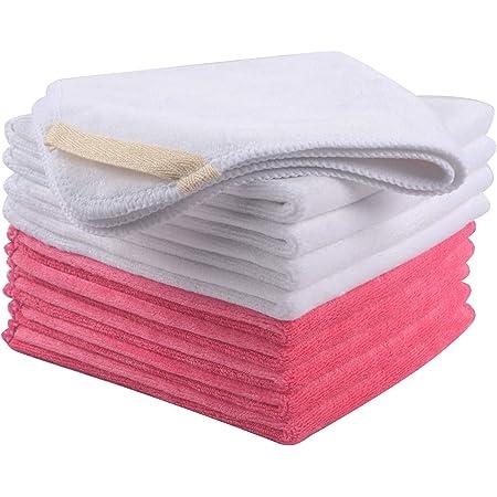 Vivote Mikrofaser Gesichtsreinigungstücher 30x30cm Make Up Entferner Tuch Waschbar Und Wiederverwendbar Microfaser Abschminktücher 10 Stück 30cmx30cm Weiß5pink5 Beauty
