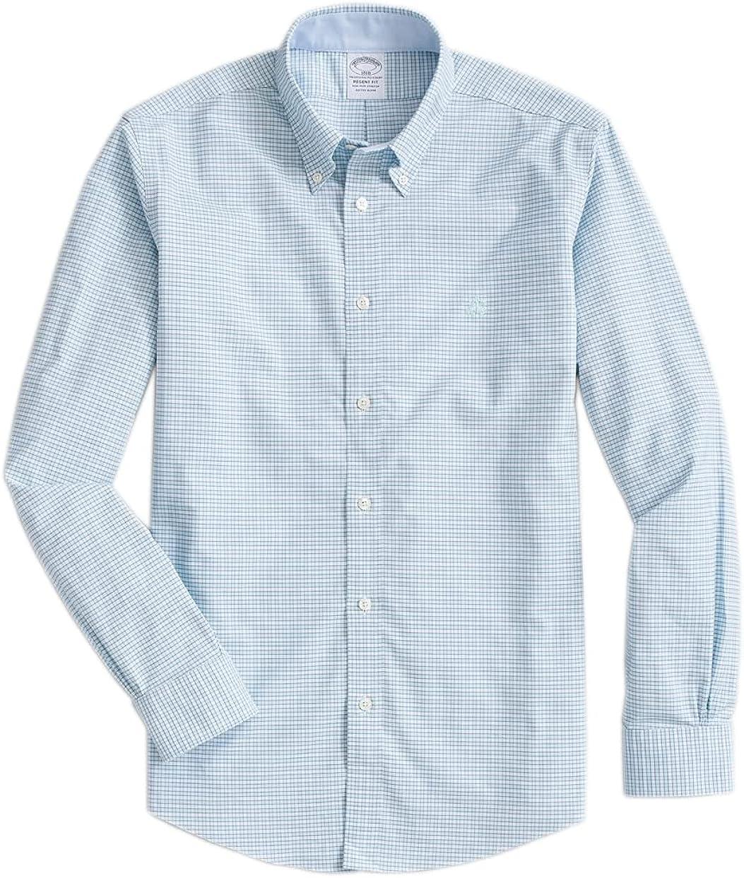Brooks Brothers Men's Regent Fit The Original Polo Non Iron Oxford Shirt Mini Gingham Plaid