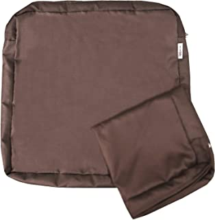 QQbed 2 Pack Outdoor Patio Chair Waterproof Cushion Pillow Seat Covers in Cocoa Brown Color 24X22X4 - Replacement Covers Only