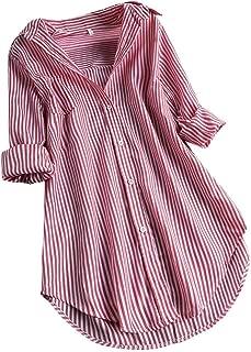 Women Fashion Chic Plaid Stripe Long Sleeve Cotton Turn-Down Collar Button Irregular Loose Top Shirts Blouse