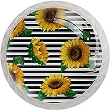 AITAI Zonnebloem met streep gele bloem ronde kast knop 4 Pack trekt handgrepen