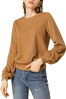 Women's Lantern Sleeve Tops Crew Neck Winter Ribbed Pullover Sweater
