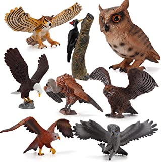 Fantarea 8 PCS Eagle Animal Figures Model Owl Woodpecker Figurines Family Party Supplies Cake Toppers Collection Desktop D...