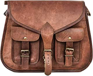 Vintage 14 inch Leather Purse Women Shoulder Bag Crossbody Satchel Ladies Tote Travel Purse Genuine Brown Leather Organizer Hippie Style Boho Bag Perfect Gift For Valentine