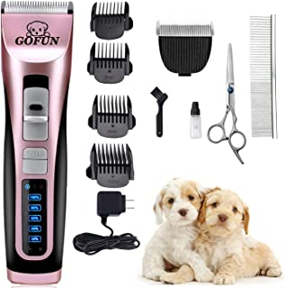 GOFUN Pet Grooming Clippers - 3 Speed Cordless Low Noise Dog Shavers Clippers Powerful Dog Trimmer Rechargeable Pet Dog Hair Clippers Electric Hair Clippers Set for Dogs Cats(2 Shaving Blades)