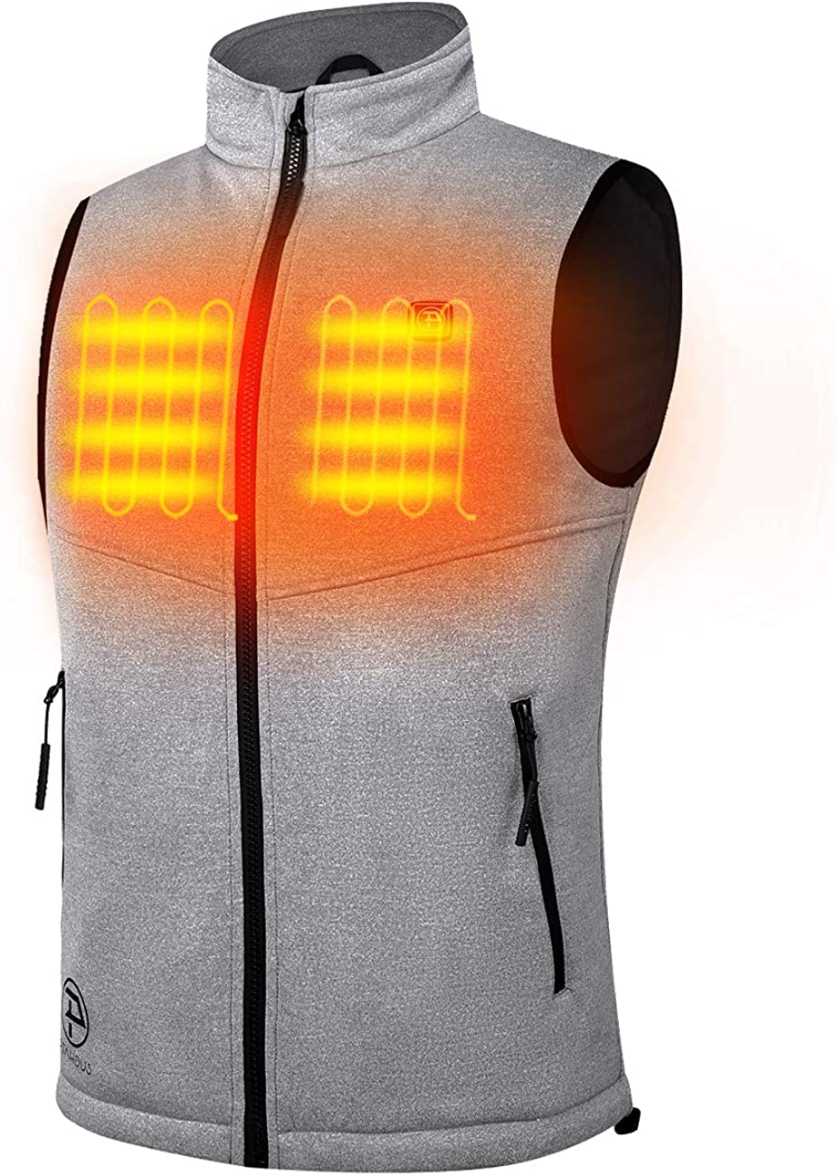 PTAHDUS Men's Lightweight Heated Vest with 7.4V Rechargeable Battery Pack