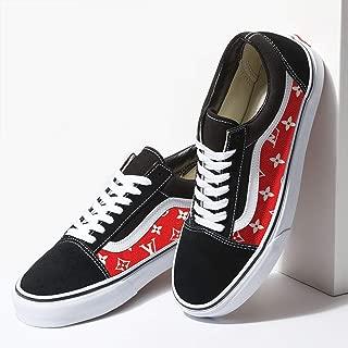 Vans Black Old Skool x Red Pattern Custom Handmade Shoes By Fans Identity