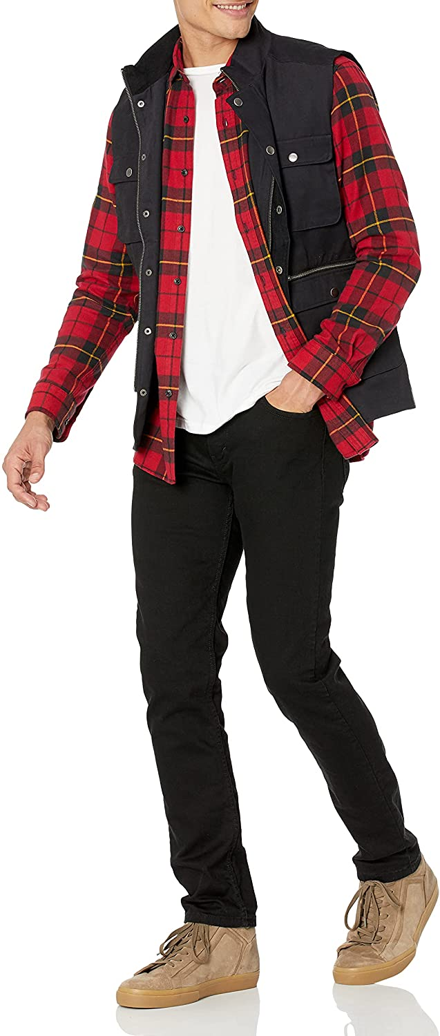 90s Outfits for Guys | Trendy, Party, Cool, Casaul Amazon Essentials Mens Regular-fit Long-Sleeve Plaid Flannel Shirt  AT vintagedancer.com