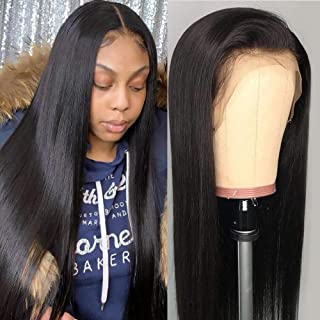 Straight Lace Front Wigs,(24inch,150% Density) Lace Front Human Hair Wigs for Black Women,Brazilian Straight Lace Wig,Unprocessed Virgin Brazilian Hair,Natural Black