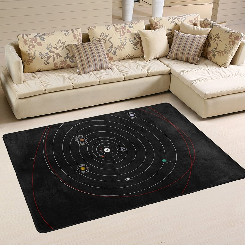 DEYYA Non-Slip Galaxy Moon Area Rugs Home Decor, Hipster Floor Mat Living Room Bedroom Carpets Doormats 72 x 48 inches