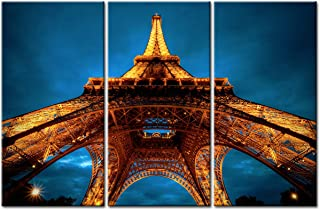 Eiffel Tower Wall Art Decor Canvas Prints Painting Picture French Paris City Skyline Night View Poster Teal Blue Modern Kitchen Bathroom Living Room Home Decoration Hanging 3 Panel 16x32