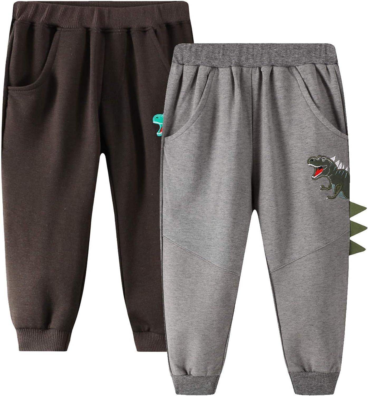HILEELANG Kids Boy Girl Pants Jogger Drawstring 2-Pack Chino Cargo Pant Cotton Casual Fleece Sweatpants Pants