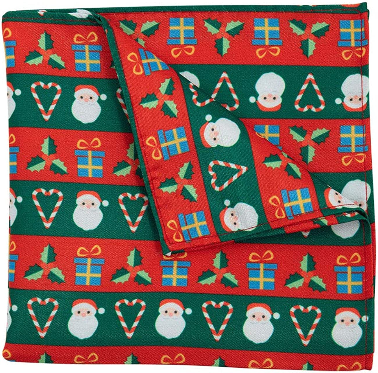 Dobell Mens Red and Green Christmas Handkerchief