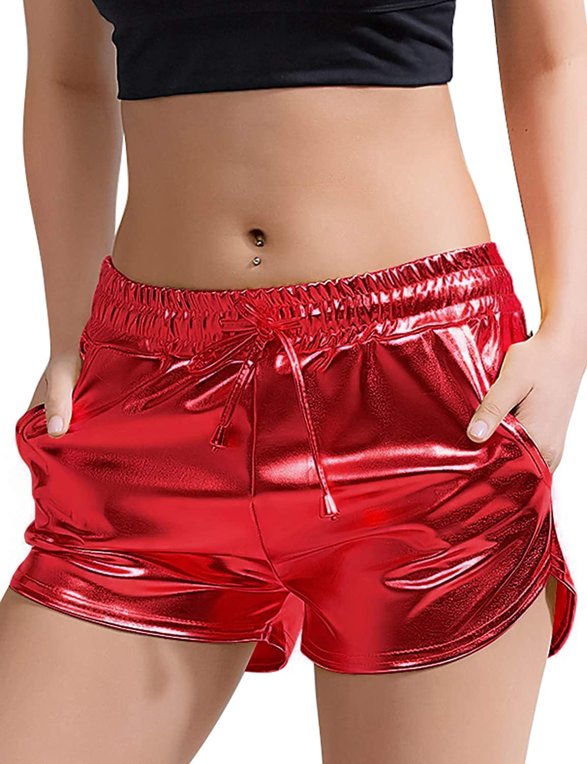 Peauty Metallic Shorts Yoga Hot Shiny with Elastic Drawstring Pants for Women