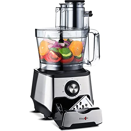 2021 Food Processor - MAGICCOS 14-Cup 1000W Large Food Processors & Vegetable Chopper, 7-in-1 Chopping Kneading Shredding Slicing, 7 Speeds & Pulse, Stainless Steel