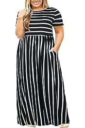 4e8e709b500 Nemidor Women Short Sleeve Loose Plain Casual Plus Size Long Maxi Dress  with Pockets