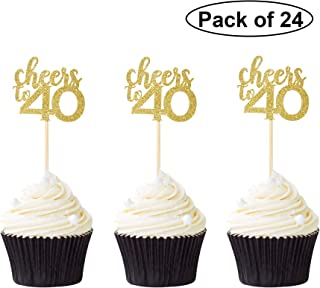 Pack of 24 Cheers to 40 Cupcake Toppers Gold Glitter 40th Birthday Cupcake Picks Anniversary Party Decors