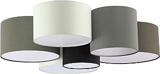 Plafón EGLO PASTORE, plafón textil con 6 bombillas, material: acero, textil, color: blanco, marrón, gris, negro, versión: E27
