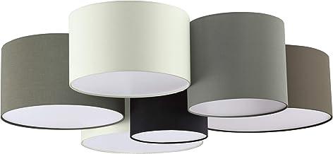 EGLO plafondlamp PASTORE, 6 lichtbronnen textiel plafondarmatuur, materiaal: staal, stof, kleur: wit, bruin, grijs, zwart,...