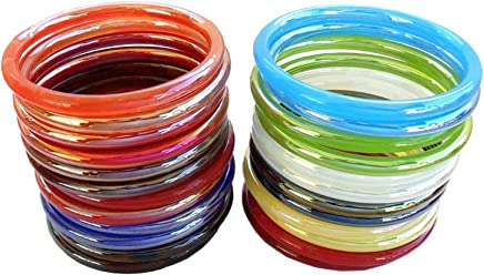 NMIIMulticolor Glossy Glass Pack of 24 Bangle Set for Women & Girls