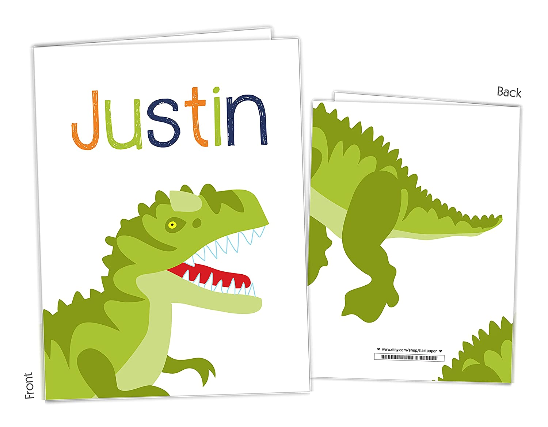 Dinosaur Dino T Rex 2 Pocket Folder to Sup Back Gift Name Ranking TOP18 School New Shipping Free Shipping