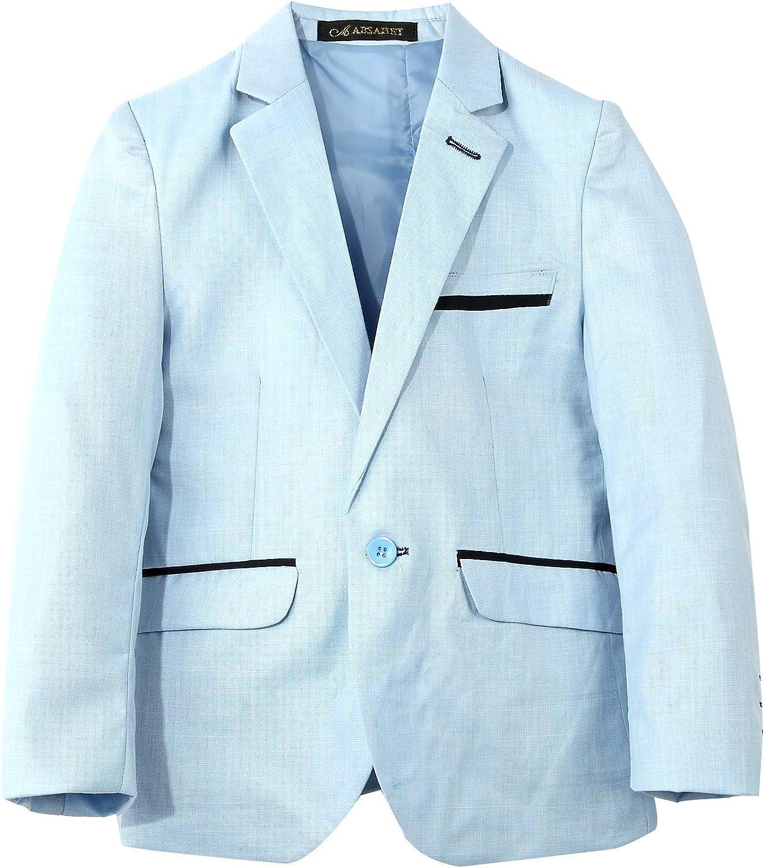 JiaYou Child Kid Boy Casual Slim Fit Outwear Coat Blazer Jacket(Style B Blue,5T)