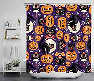 LB Funny Halloween Pumpkin Shower Curtains Moon Time Black Cats Orange Ghost Jack-O-Lantern Purple Shower Curtains Funny Cartoon Bathroom Decor 72x72 Inch Polyester Fabric with 12 Hooks