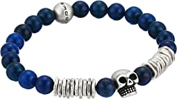Bead and Discs with Skull Design Stretch Bracelet in Stainless Steel