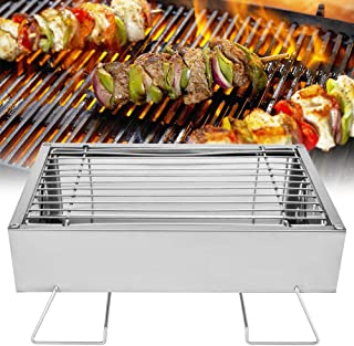 Portable Stainless Steel BBQ Grill, Mini Foldable Barbecue Grill Charcoal Accessories Grills for Outdoor Camping Picnic Ch...