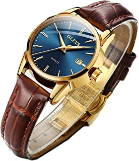 Men Women Watches Brown Leather-OLEVS Classic Analog...
